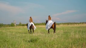 Dwa dziewczyny w bia?ych sukniach na horseback Dziewczyny w polu na horseback swobodny ruch zbiory