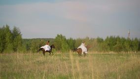 Dwa dziewczyny w bia?ych sukniach na horseback Dziewczyny skacze na polu na horseback swobodny ruch zbiory
