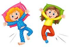 Dwa dziewczyny w pyjams przy sen przyjęciem ilustracji