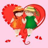 Dwa dziewczyny z pigtails w barwionych sukniach i kapeluszach trzymają ręki, na różowym tle, serce Obraz Royalty Free
