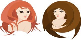 Dwa dziewczyny z różnymi, kreatywnie fryzurami, wektor Fotografia Stock