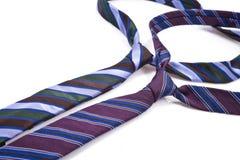 Dwa elegancka jedwabnicza samiec wiąże na bielu (krawat) Fotografia Stock