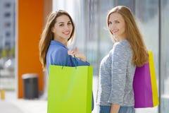 Dwa eleganckiej dziewczyny z torba na zakupy fotografia stock