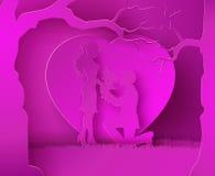 Dwa enamored pod drzewem Obraz Stock