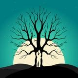 Dwa enamored pod miłości drzewem, ilustracja Fotografia Royalty Free