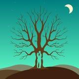 Dwa enamored pod miłości drzewem, ilustracja Obraz Stock
