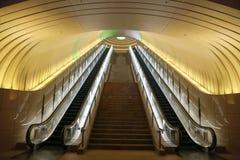 Dwa eskalatoru z Żółtego światła koszt stały Fotografia Stock