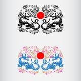 Dwa etykietka Japonia han festiwalu okwitnięcie Sakura z smokami i czerwony okrąg Japan środek Zdjęcie Royalty Free