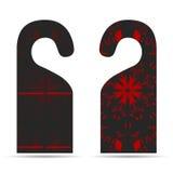 Dwa etykietki na drzwiowego wieszaka ornamencie z zmrokiem - szarość z czerwienią ilustracji