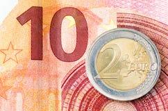 Dwa euro Zdjęcia Royalty Free