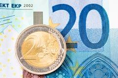 Dwa euro Fotografia Royalty Free