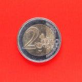 Dwa euro menniczy pieniądze Obrazy Stock