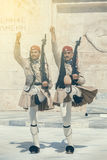 Dwa evzone gwardia honorowa 2 Fotografia Royalty Free