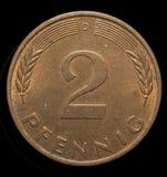 Dwa fenigów broze moneta Fotografia Royalty Free