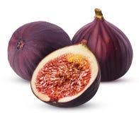 Dwa fig owoc jeden świeży cięcie w połówce obrazy royalty free