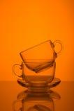 Dwa filiżanek pomarańcze przejrzysty szklany tło Obrazy Royalty Free