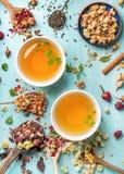 Dwa filiżanki zdrowa ziołowa herbata z mennicą, cynamonem, suszący różanym i rumiankiem, kwitną w łyżkach nad błękitnym tłem Zdjęcia Stock