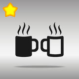 Dwa filiżanek ikony guzika loga czarny symbol Zdjęcie Stock