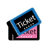 Dwa filmów biletów kinowy wektor eps10 filmu bileta kinowe menchie i błękitny kolor na białym tle ilustracja wektor