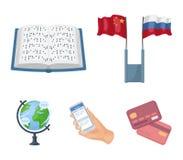 Dwa flaga, książka dla story, ręka z telefonem z objaśnionym tekstem, kula ziemska ziemia Tłumacz i Obraz Stock