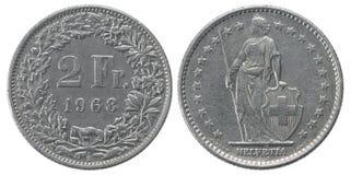 Dwa franka moneta Zdjęcie Royalty Free
