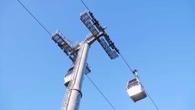 Dwa funiculars ruszają się w kierunku each inny przeciw niebieskiemu niebu Ruch, turystyka, wagon kolei linowej, Barcelona, kabin zbiory