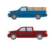Dwa furgonetki odizolowywającej na białym tle Zdjęcia Royalty Free