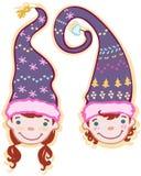 Dwa głowy dzieci w nakrętkach Fotografia Stock