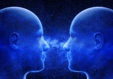 Dwa głowy w de przestrzeni Obrazy Royalty Free