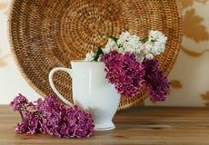 Dwa gałąź Biały i Purpurowy bez w Ceramicznej filiżance Rattan talerz Drewniany tło, Selekcyjna ostrość Zdjęcia Royalty Free