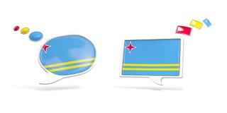 Dwa gadki ikony z flaga Aruba Zdjęcia Stock