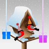 Dwa gil przy birdhouse z prezentami Zdjęcie Royalty Free