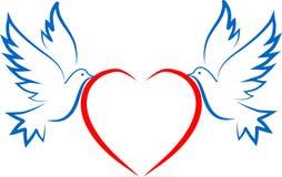 DWA gołąbka I serca ilustracji