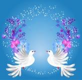 Dwa gołąbki i kwiecistego ornament ilustracja wektor