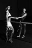 Dwa gracz w tenisa Trząść ręki Nad siecią Obrazy Stock