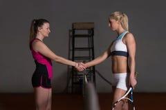 Dwa gracz w tenisa Trząść ręki Nad siecią Obrazy Royalty Free