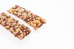 Dwa granola baru zdrowy muesli lub zboże bar odizolowywający na bielu Fotografia Stock