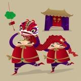 Dwa grubego mężczyzny bawić się lwa tana ilustracji