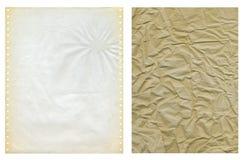 Dwa grungy papier struktury Fotografia Stock