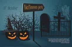 Dwa Halloween Straszna bania na noc cmentarza tle ilustracji