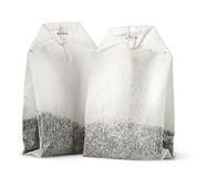 Dwa herbacianej torby z nicią pionowo Zdjęcia Stock