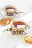 Dwa iapan stily filiżanki herbata z ciastkiem Obrazy Royalty Free