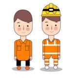 Dwa inżyniera z hełmami i kamizelkami Rewizja, resque pracownik w inżynierii budowy kopalnictwie i drużyna lub Bezpieczeństwo ilustracji