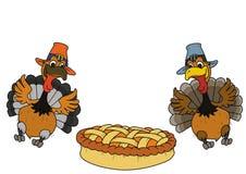 Dwa indyczy dyniowy kulebiak Bożenarodzeniowego gościa restauracji jedzenie dla dziękczynienia tła odcisku palca ilustracyjny bie royalty ilustracja
