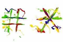 Dwa interpunkcyjnego znaka malowali multicolor Fotografia Stock