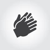 Dwa istot ludzkich ręk klascze czarna ikona Mieszkanie znak aplauz, ośmielenie, zatwierdzenie Sieci grafiki piktograf royalty ilustracja