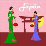 Dwa Japońskiej pięknej kobiety Wektorowy ilustracyjny projekt Fotografia Stock