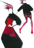 Dwa jaskrawej dziewczyny w modnym żakiecie z smugi akwarelą wręczają ilustrację royalty ilustracja