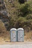 Dwa jawnego biotoilets Zdjęcie Stock