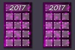 Dwa kalendarza z abstrakcjonistycznym bokeh tłem w 2017 rok Zdjęcie Stock